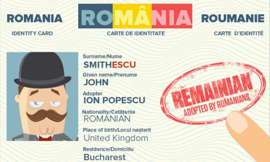 A prototype of the ID card you would receive from the Romanians for 'remainians' campaign