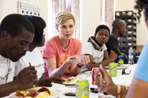 Charlize Theron visits a project to create youth ambassadors in KwaZulu-Natal, 2013