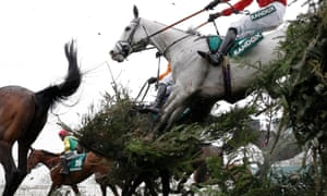 Mystifiable, ridden by Paddy Brennan, jumping the Canal Turn this week at Aintree.