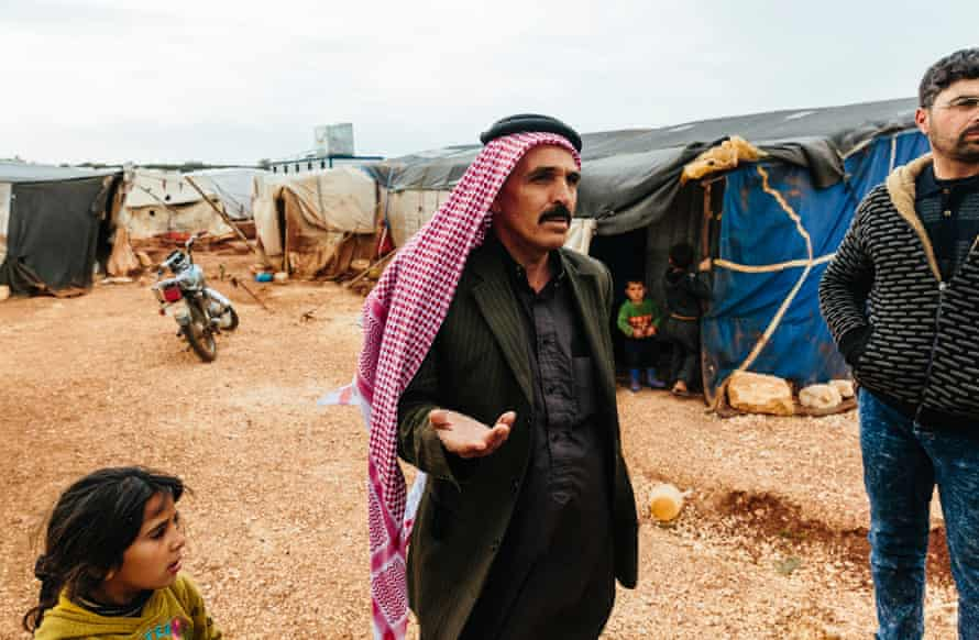 Mahdi al-Beij, who fled Aleppo with his family, in a makeshift camp near the Syrian Turkish border.