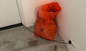 A chemical waste bag inside a Hong Kong government quarantine centre