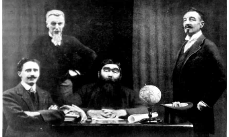 Sir Arthur Conan Doyle, centre, as Professor Challenger, complete with false beard and bushy eyebrows, with other members of the 'Amazon expedition'.