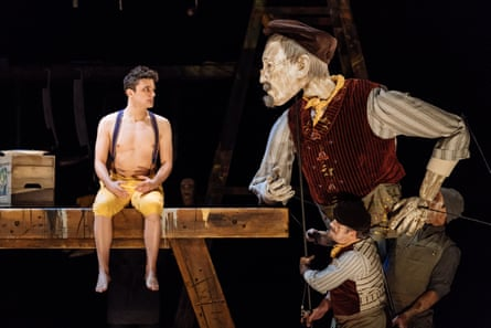 Joe Idris-Roberts (Pinocchio) with the puppet Geppetto.