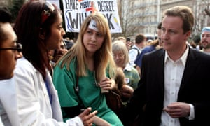 David Cameron at a rally protesting against changes to the junior doctors' training system in 2007