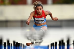 Russia's Ekaterina Galitskaya competes in the women's 100m hurdles final at a track and field meet in Moscow on 28 July, 2016. Russia's athletics federation held a competition for the athletes banned from the Rio Olympics.