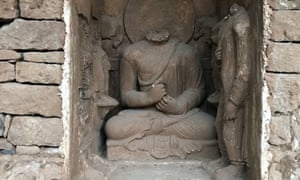 Statues at the Buddhist-period archeological site in Khyber Pakhtunkhwa province, Pakistan.