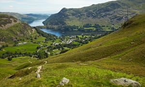 View of Ullswater looking over Glenridding from the Little Cove path to Helvellyn.