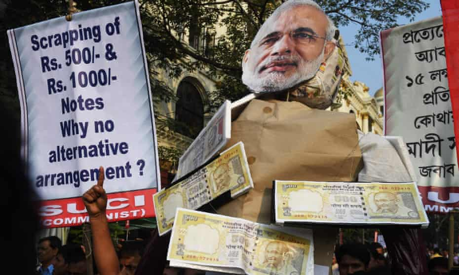 Effigy of  Narendra Modi, protest over de-monetisation of 500- and 1,000-rupee