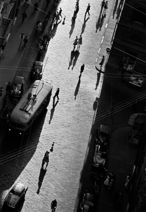 Shadows on street, Florence, Italy 1958