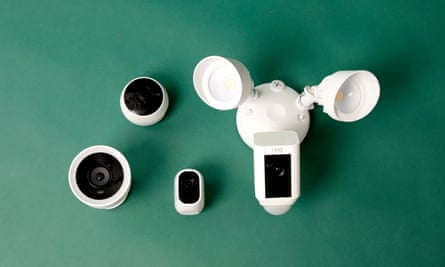 the logitech circle 2, ring floodlight cam, arlo pro 2 and nest cam iq cameras pictured together