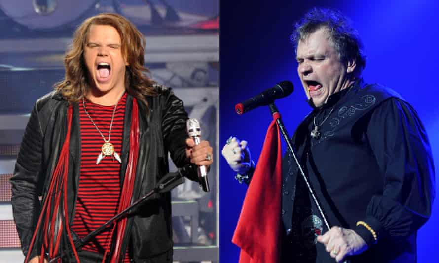 Meat Loaf (right) with his lookalike Caleb Johnson.