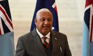 Frank Bainimarama in Canberra