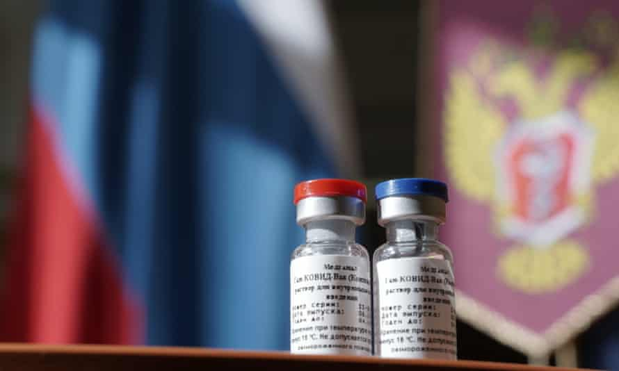 Vials of GamCovidVac, the first coronavirus vaccine in the world registered in Russia.