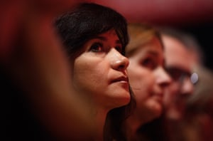 Laura Alvarez, wife of Jeremy Corbyn, listens to his speech.