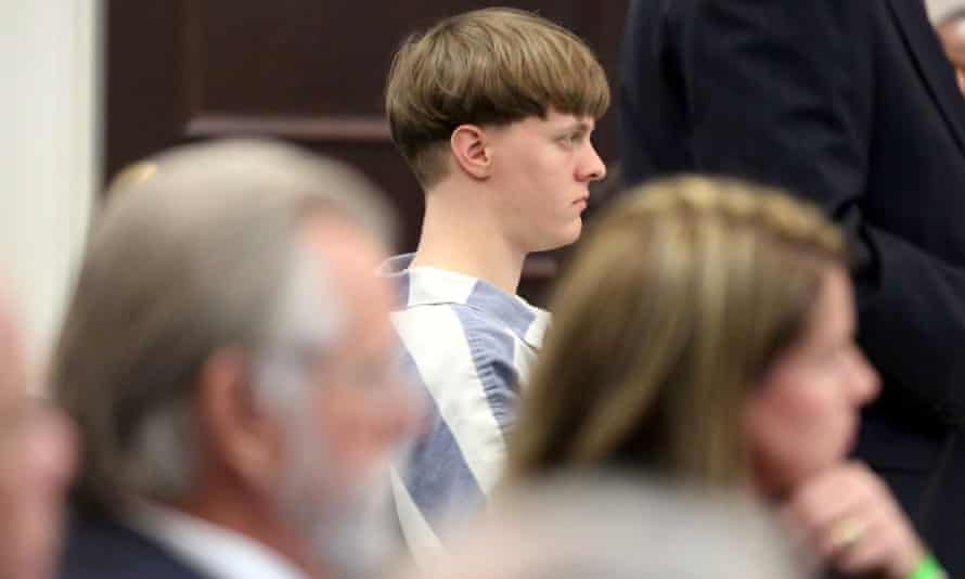 Dylann Roof in the court room at the Charleston county judicial center, 10 April 2017.