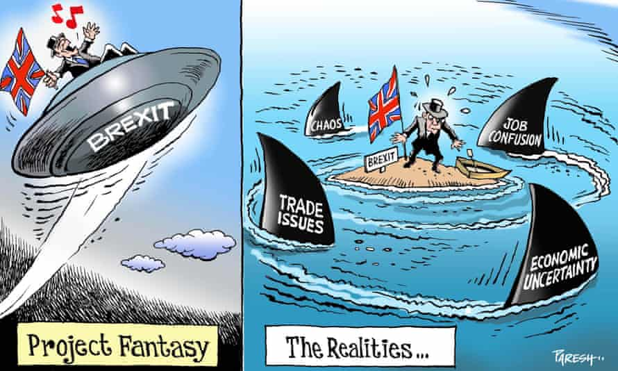 Paresh Nath's cartoon comparing 'Project Fantasy' and Brexit reality