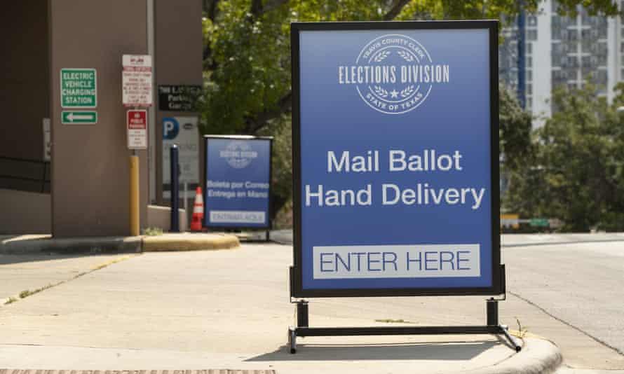 A drive-through ballot drop off location in Austin, Texas.