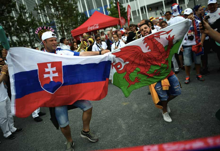 Wales and Slovakia fans in front of the Stade de Bordeaux before their Euro 2016 group match
