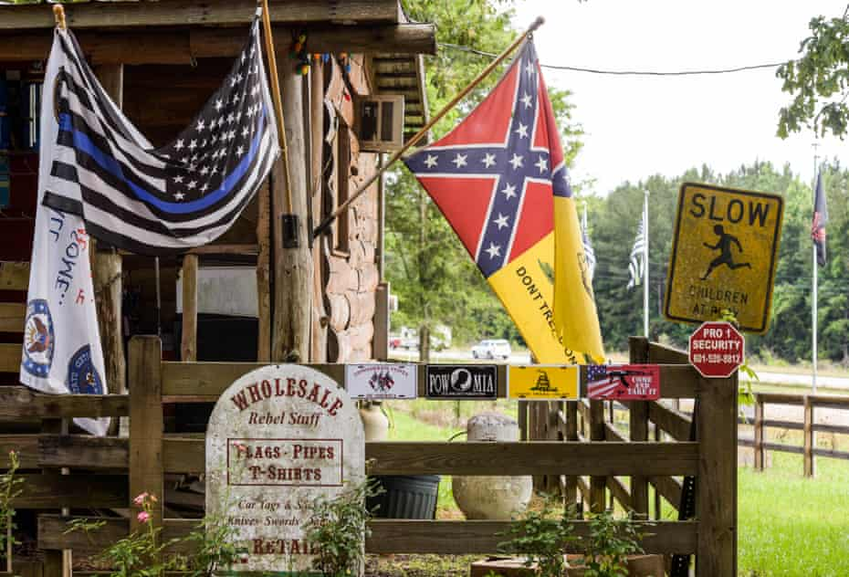 """Flag Heads specializes in Confederate flag-themed merchandise in Seminary, Mississippi. The store slogan is """"You won't find it at Wal-Mart."""""""