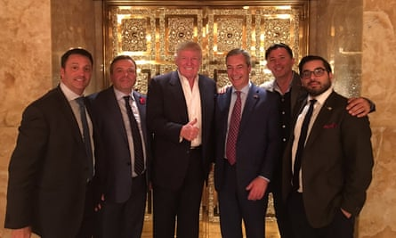 Going up… Gerry Gunster, Arron Banks, Donald Trump, Nigel Farage, Andy Wigmore and Raheem Kassam at Trump Tower in New York, in November 2016, just before Trump's election victory.