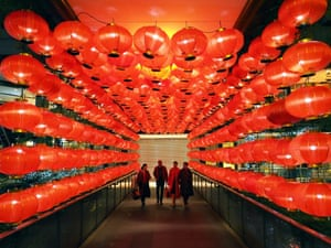 Red lanterns are lit up to welcome the Chinese New Year in Taipei, Taiwan