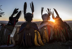 Mongolian shamans, or buu, take part in a ceremony marking the summer solstice in the grasslands outside the capital city, Ulaanbaatar