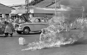 In the first of a series of fiery suicides by Buddhist monks, Thich Quang Duc burns himself to death on a Saigon street to protest persecution of Buddhists by the South Vietnamese government, June 11, 1963
