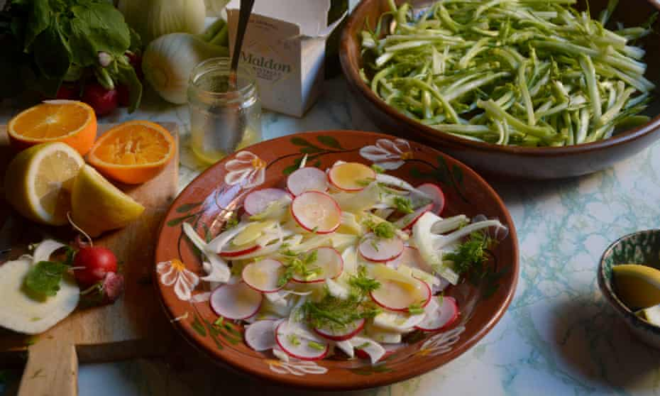 Rachel Roddy's puntarelle and radishes: the quintessential Italian winter salad.