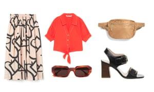 Skirt, £34.99, hm.com Shirt, £25.99, zara.com Sunglasses, £80 by Le Specs from net-a-porter.com Bumbag, £15, monki.com Sandals, £72, office.co.uk