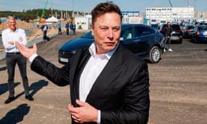 Elon Musk visits a construction site on 3 September 2020.