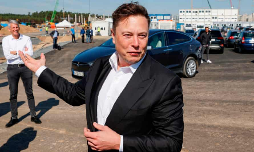 Elon Musk visits a construction site on 3 September 2020.