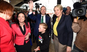 Bill Shorten and Tanya Plibersek in Penrith on Monday with Susan Templeman, far left, and Emma Husar.