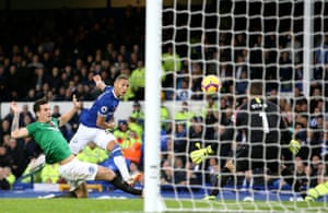 Everton striker Richarlison scores his first of two helping The Toffees to a 3-1 victory over Brighton at Goodison Park.