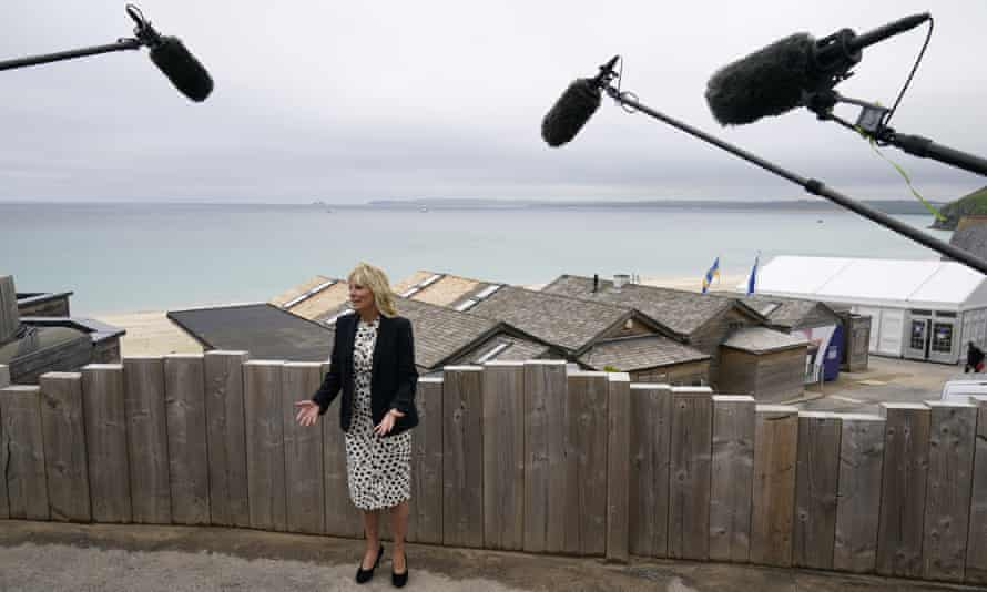 Jill Biden talks to the press