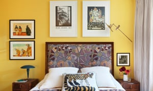 Art and crafts: the sunny bedroom with a Pierre Frey headboard.