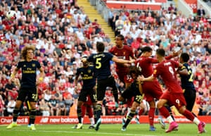 Liverpool's Joel Matip scores the opening goal as his side beat Arsenal 3-1 at Anfield. Liverpool have scored 22 headed goals in the Premier League since the start of last season; seven more than any other side. The Reds have scored three in this campaign already, while no other side has scored more than one.