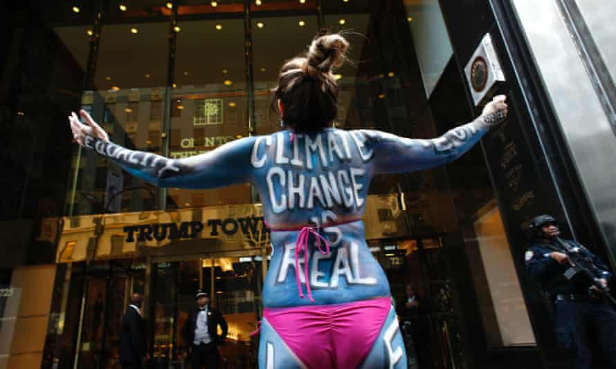 A protest against climate change outside Trump Tower in New York.