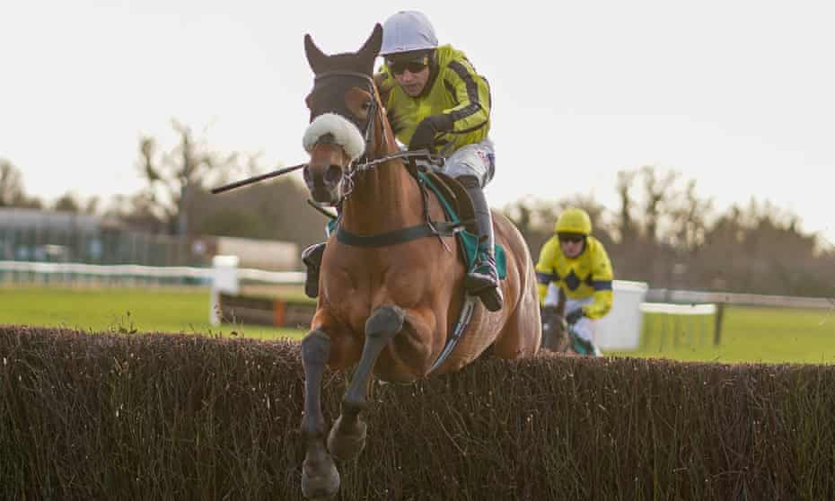 Harry Skelton riding Allmankind on their way to winning the Kingmaker Novices' Chase.