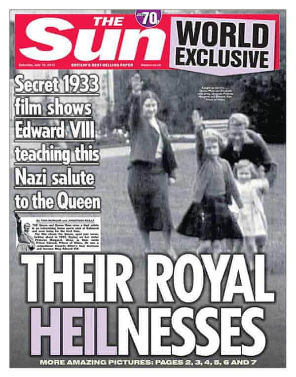 The Sun front page showing a still of footage showing a young Queen performing a Nazi salute with her family at Balmoral.