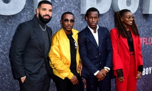 Drake, Ashley Walters, Micheal Ward and Little Simz attending the UK premiere of Top Boy at the Hackney Picturehouse in London