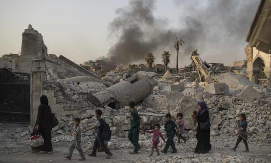 The heavily damaged al-Nuri mosque in Mosul, Iraq.