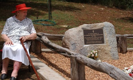 Lady Bjelke-Petersen at the grave of Sir Joh Bjelke-Petersen on the family property Bethany at Kingaroy, northwest of Brisbane, in February 2006.