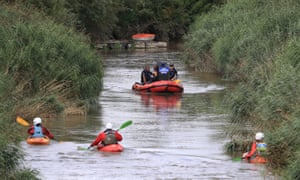 Search groups look for Lucas Dobson on the River Stour.