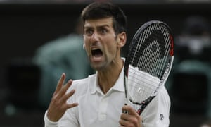 Novak Djokovic reacts after losing a point during what is shaping up to be a thilling Wimbledon semi-final against Rafael Nadal.