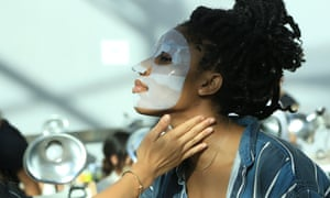 A model in a Dr Jart+ sheet mask backstage at New York fashion week.