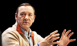 Kevin Spacey takes questions after a lecture at the TV festival in Edinburgh.