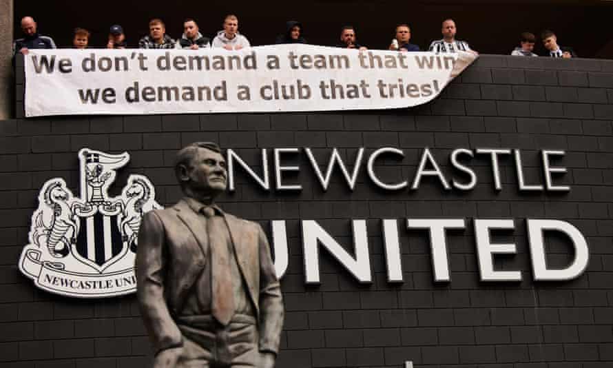 A banner outside St James' Park on Thursday