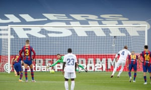 Real Madrid's Sergio Ramos scores their second goal from the penalty spot.