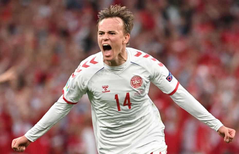 Mikkel Damsgaard celebrates after scoring Denmark's first goal against Russia at Parken.
