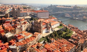 An aerial view of the old town of Porto.